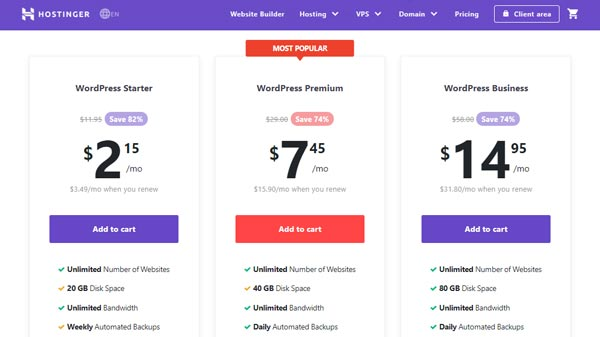hosting wordpress hostinger