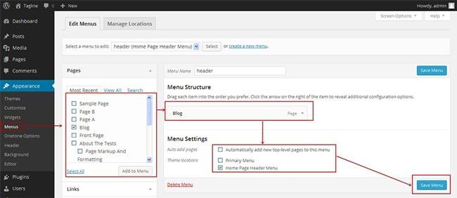 creare un sito web menu